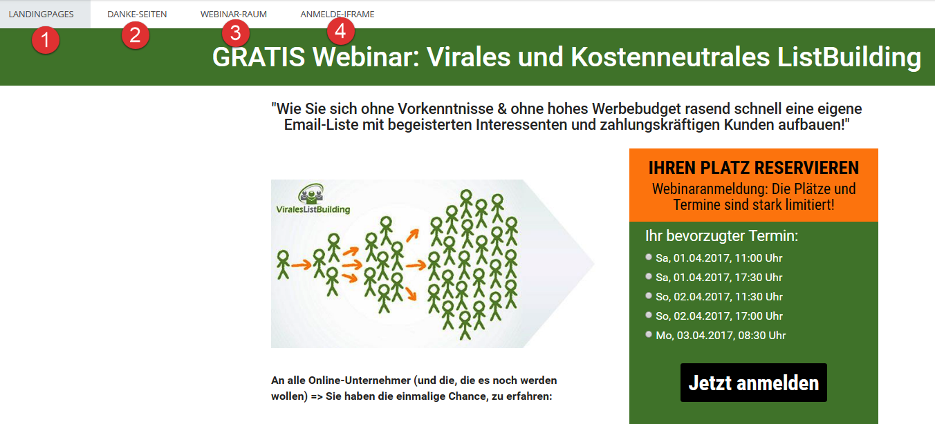 Webinaris Designs festlegen